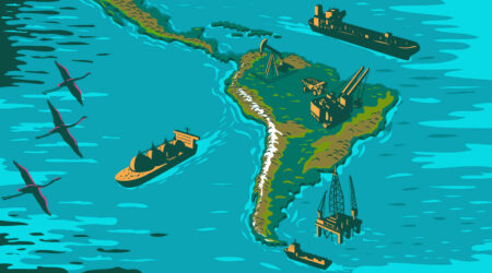 Oil platforms and tankers off the coast of South America