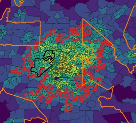 Heat map of urban center