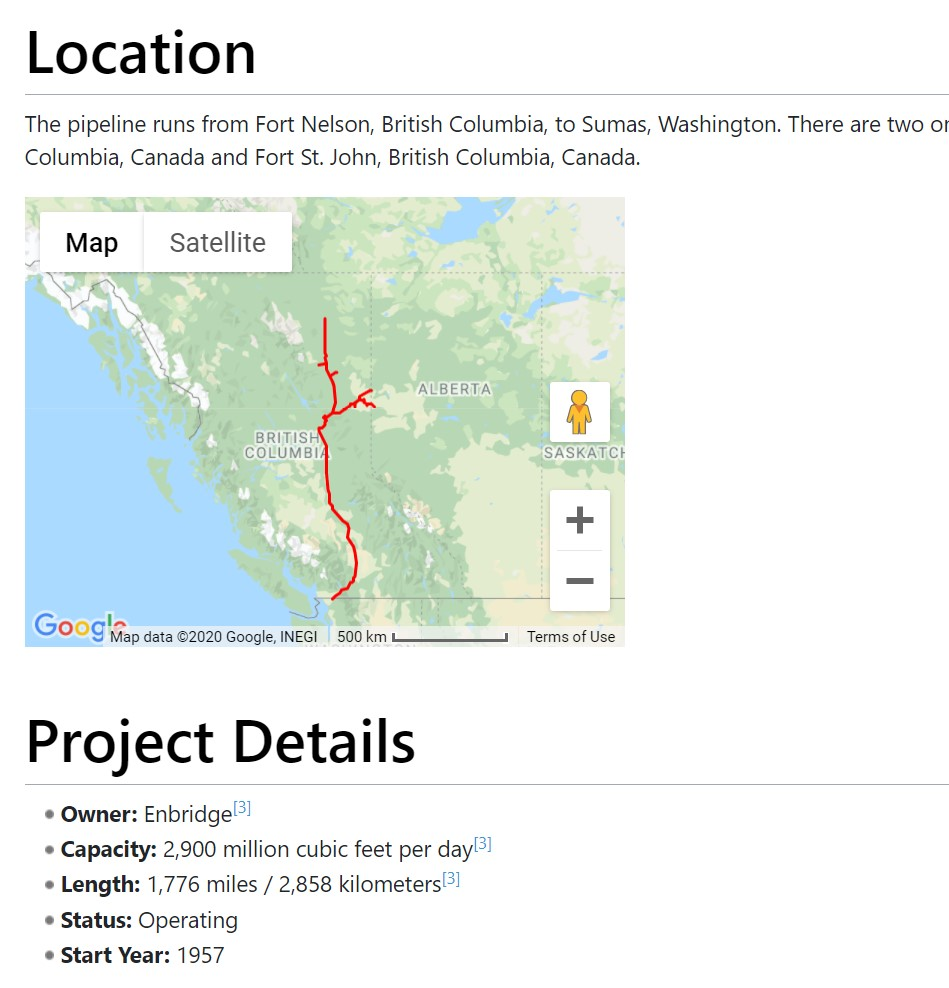 View of project details on Wiki page