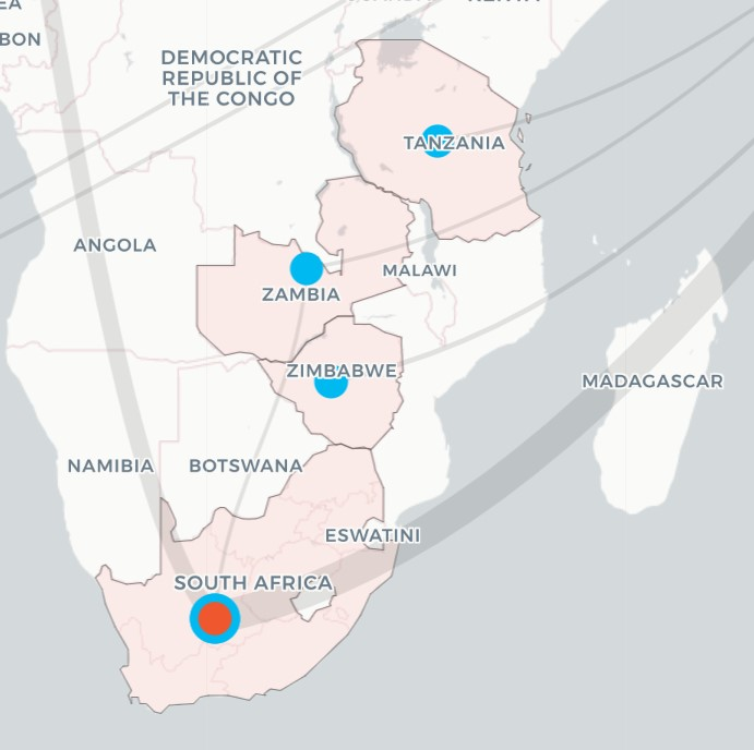 Map of coal finance flow paths in southern Africa
