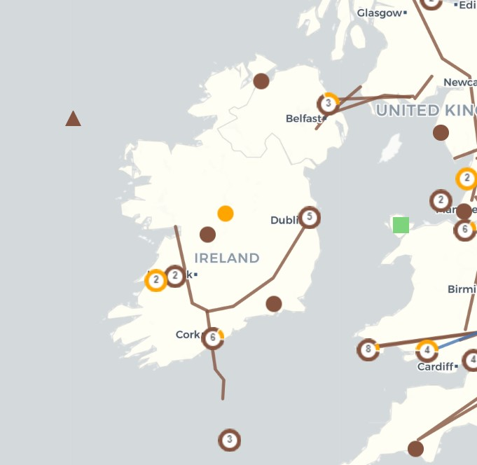Map of gas infrastructure in Ireland