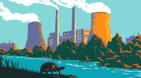 A large coal plant generates emissions next to a natural waterway