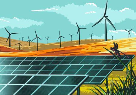 太阳能电池板和风力涡轮机的景观